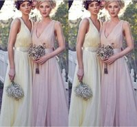 Wholesale New Arrival Bridesmaid Dresses V Neck A Line Pleats Pink Chiffon Simple Sashes Formal Occasion Dress