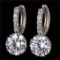 cubic zirconia stone - 2015 Cheap SI High Quality White Gold Plated Round Stone Carat Cubic Zirconia Stone Hoop channel earrings For Women Wedding
