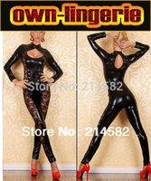 Cheap Wholesale-Latex Catsuit bodysuit Crotchless Sexy Lingerie Stripper clothes Teddy lingerie Dance Costume latex underwear women w6012
