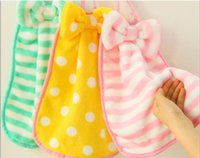 Wholesale cute striped bow hand towel hanging towel lint free kitchen Strong absorbent dry cloth for baby kids