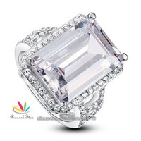 emerald cut diamonds - Drop Shipping Free Emerald Cut Simulated Diamond Solid Sterling Silver Wedding Ring Jewelry CFR8016
