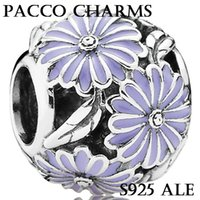 Flowers cheap pandora bracelet beads - Fit Pandora Bracelets Charms Beads Sterling Silver Jewelry Outlet Cheap DIY Making DAISY SILVER CHARM WITH LAVENDER
