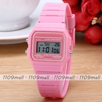 Children's alarm purple - 110pcs Bigger Discounts As Gift Ultrathin Plastic Watch Band Male Students kids Sports casual Alarm Digital Watch colors availabe