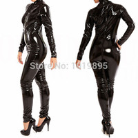 Cheap Wholesale-Womens Erotic Lingerie Sheathy Body Suit Jumpsuit Cosplay Playsuit Zip PVC Catsuit Stripper Pole Costumes Sexy Club Wear S-XXL
