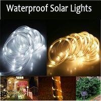 achat en gros de led blanche lumière arbre-Waterproof de guirlandes solaires Guirlandes LED 23ft 7M 50 LED 1.2V chaud Blanc froid fête de Noël blanc arbre de plein air Jeu de lumières