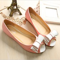 Wholesale 2015 new fahion casual shoes woman flat open toe women flats Cute Bow soft soles Casual shoe for girls