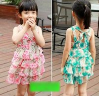 layer cake - Children s Clothes Girls Dress Summer Suspenders Sundress Flower Printed Chiffon Butterfly Dresses Cake Layers Dressy Red Green J4938