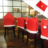 Wholesale Santa Claus Clause Hat Chair Covers Dinner Chair Cap Sets For Christmas Xmas Decorations Home Party Holiday Festive Red