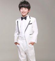 Wholesale 2016 New arrive fashion custom made Boy s Formal Wear white three piece jacket trousers tie Wedding Tuxedo yzs168