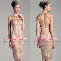 Wholesale Crystal Neck Tie - 2015 Hot Sale Mother Of The Bride Dresses Sexy New Crew Crystals Beaded Lace Backless Knee Length Formal Evening Gowns W309 Free Shipping