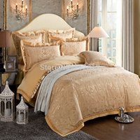 Wholesale Home Textile Fashion bedding Gold luxury silk Jacquard beddings set designer s bedspreads duvet cover set king queen