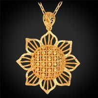 Wholesale New Blommy Sun Flower Pendant Charms K Real Gold Plated Choker Necklace Christmas Gift Fashion Jewelry For Women YP225