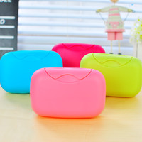 Wholesale Travel soap box with lid seal fashion portable candy color Large soap boxes