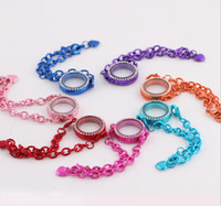 Cheap Hot ! 10pcs 7- Color Newest Magnetic Crystal Floating Living Memory Glass Locket Bracelet Charm Lockets Bracelets