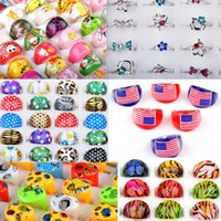 assorted middle - 120pcs Mix styles Resin Silver Plated Assorted Heart Design Crystal Ring Cute Kid Child Rings Party Jewelry Gift Free