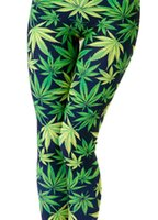 Wholesale 2015 new fashion women Green marijuana cannabis Leaf Digital Print Leggings slim elastic pants