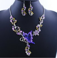 Cheap Earrings & Necklace bridal jewelry sets Best Crystal, Rhinestone Acrylic, Resin, Lucite butterfly earring necklace