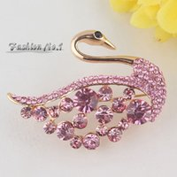 Wholesale Fashion Colors Swan Full Shining Austrian Crystal Brooch Pins With k Gold Plated Jewelry Women Gift
