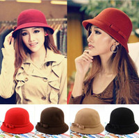 felt top hat - Bucket Hat Women Floppy Solid Color Cloche Bowler Derby Fedora Hat Wool Felt Bowknot Hat Caps Red Black Coffee Wine Red Camel