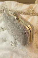 bags knuckle - New Desinger Wedding Bridal Party Prom Gold Silver Crystal Rhinestone Evening Clutch Bag Handbag Ring Knuckle Beaded Envelope Purse Hard Box