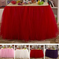 Wholesale Wholesales Quality Fashion Home Decor Table Skirt Wedding Holiday Festival Party Tablecloth Solid Tulle Tutu Table Skirt JM0052 Salebags