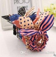 Wholesale korea style fabrics bowknot hair decorations High elastic head rope Rabbit ears wave point hair rope Hair ring