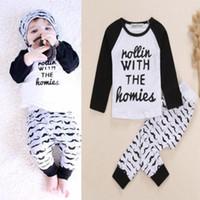 baby bodysuit sets - 2015 New Baby Infant Kid Boys Bodysuit Clothes Homie Print letter T shirt Moustache Pants Outfits Sets