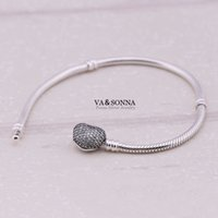 Cheap Wholesale-100% 925 Silver Clasp Snake Bracelet Chain, DIY Jewelry Findings Fits European Style Charm Beads Bracelet Making