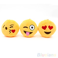 Wholesale Cute Soft Emoji Smiley Emoticon Pendant Yellow Round Plush Toy Doll Ornaments