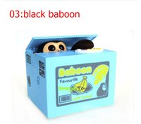 Wholesale Automated panda baboon pig dog mouse itazura cat steal coin piggy bank saving money box coin bank kids gift models