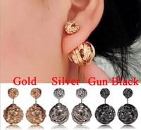 black and gold - metal double stud earrings Double Pierced Earrings Silver Gold And Gun Black Color pearl stud earrings Handmade Jewellery