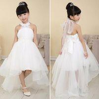 thanksgiving - 2015 New Fashion baby Girls Mesh Halter High Waist Asymmetrical Hem Ball Gown Tutu wedding Flower Girl Dress Party Dresses SV027016