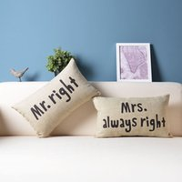 bamboo couches - Mr Right or Mrs Always Right Cushion Covers Set x50cm Linen Cotton Pillow Case Decorative Couch Pillow Cover Couple Pillowcase