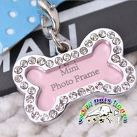 Wholesale Pet products dog accessories pink pendant set auger bone shape pet tags metal photo frame for dogs cats puppies yorkshire CL808