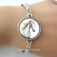 antique horse pictures - Art pendant charm bracelets Glass cabochon dome picture white horse bangle antique silver Rhodium Gold Bronze plated bangles