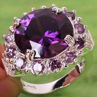 Wholesale New Crystals Amethyst Topaz Gemstones for Wedding Party Cocktail Prom Lady Purple Rings Size Bridal Accessories Jewelry In Stock