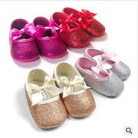 Wholesale Baby girls first walker shoes bowknot girls shoes glitters kids children s casual shoes infant baby booties