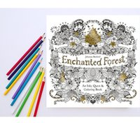 Wholesale 1 set Water color pencils Enchanted Forest Book Adult Stress Relieving Patterns Enchanted Forest An Inky Quest Coloring Book