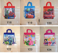 Backpacks Unisex 3-6T Free shipping Spider-man children backpack,car boy girl bag,draw string school bag,princess cartoon backpacks shopping bags.24 pcs.XS