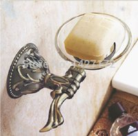 antique glass dishes - Bathroom Wall Mounted Classical Carving Antique Bronze Soap Holder With Glass Dish