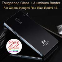 al por mayor teléfonos móviles xiaomi hongmi-22 en color, vidrio templado Volver cubierta y el marco de aluminio para la cubierta del teléfono móvil de la batería Xiaomi Hongmi arroz rojo redmi 1S lujo