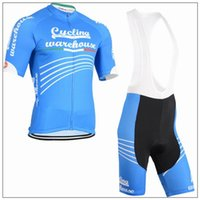 bicycle warehouse - 2015 Warehouse Cycling Jerseys New Design Blue Short Sleeve With Padded Bib None Bib Trousers Tight Bicycle Clothes XS XL