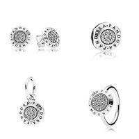 Wholesale 4pcs Sterling Silver Silver P Signature Ring And Earring And Charm And Pendant Sets Fits European Style Custom Jewelry Set BR020