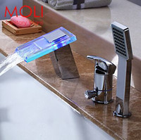 shower mixer - Bath faucets led waterfall bathtub taps deck mounted glass faucet piece tub mixer with hand shower