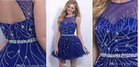 best service crystals - Jewel Charming Sexy Sequins Homecoming Dress Royal Blue Ball Gown Sheer Cocktail Dress Short Party Dress Plus Size Custom Made Best Service
