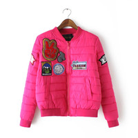 Wholesale Hipster Cartoon patch Cute embroidery Down cotton women winter jacket pink bomber jackets and coats girls kawaii clothes