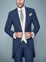 al por mayor solapas de-Estilo de la mañana Un botón de Trajes Azul marino smokinges del novio de pico solapa esmoquin padrinos de boda de los hombres de la boda cena de fiesta (Jacket + Pants + Vest)