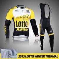 Wholesale 2015 Lotto yellow long winter thermal fleece cycling jersey long set cycling clothing sport suit bike jersey wear mountain bike breath