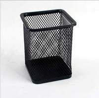 Wholesale 2 Styles Mesh Metal Pen Pencil Holder Cosmetic Stationery Container Organizer Originality Desk Office Desk Accessories