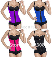 corset plus size - 2015 New Women Plus Size Waist Training Corset Sport Latex With Shoulder Straps Long Style Waist Cincher Steel Bone Bustier